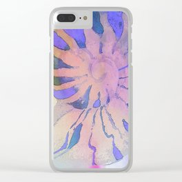 NAUTILUS SEA SHELL BLUE AND PURPLE IMPRESSIONS Clear iPhone Case