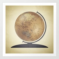 globe Art Prints featuring Globe by Sarah Rodriguez