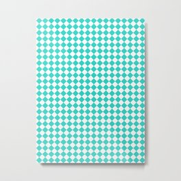 White and Turquoise Diamonds Metal Print