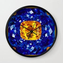 Golden Topaz Birthstones on Glittering Sapphire Blue Art Design Wall Clock