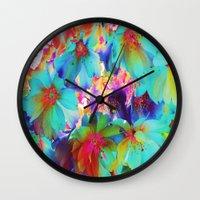 oriental Wall Clocks featuring Oriental Happiness by Aloke Design