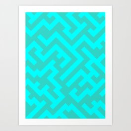 Cyan and Turquoise Diagonal Labyrinth Art Print