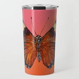 Hamadryas Amphinome Butterfly - Dark Orange & Deep Blue Black Travel Mug
