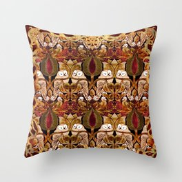 Art Nouveau Owls Throw Pillow