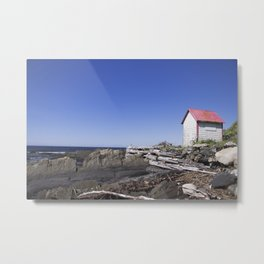 An old shack, staring into the water Metal Print