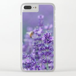 Lavender with bee in the background Clear iPhone Case
