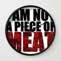 meat Wall Clocks featuring MEAT by Nathan