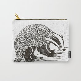 Climbing Badger Lino Print Carry-All Pouch