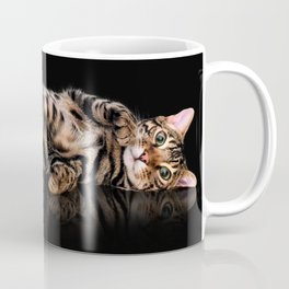 Bengal cat / Kitten on black Coffee Mug