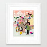 india Framed Art Prints featuring India by ilana exelby