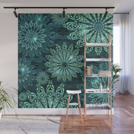 Aqua Green Snowflake Sparkle Wall Mural