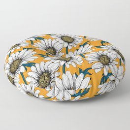 Daisies on orange Floor Pillow