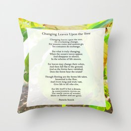 Changing Leaves Upon the Tree Poem Throw Pillow