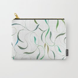 Minimalist Leaves Pattern- Green and Blue Carry-All Pouch