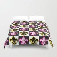 fleur de lis Duvet Covers featuring Fleur de lis pattern by Rceeh