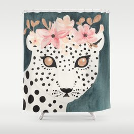 Flower Crown Leopard Shower Curtain