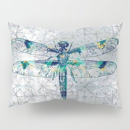 Gemstone Dragonfly on sacred geometry pattern Pillow Sham