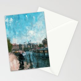 Riverside, Berlin Mitte Painting /  impressionism style Illustration  / abstract landmarks drawing Stationery Cards