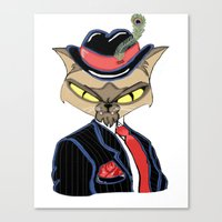 gangster Canvas Prints featuring Gangster Kitty by J&C Creations