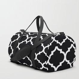 Moroccan Black and White Lattice Moroccan Pattern Duffle Bag