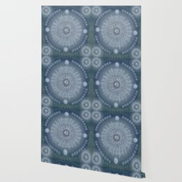 """""""Indigo blue & Cinder Vault Mandala(Silver stars)"""" Wallpaper"""