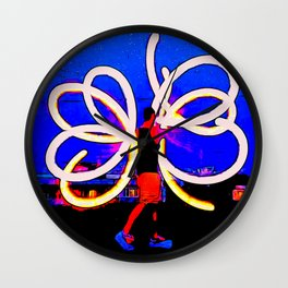 Poi Flowers Wall Clock