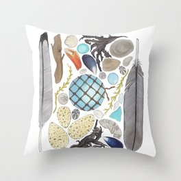 Coastal Treasures Throw Pillow