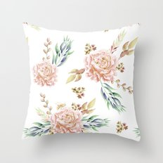 Coral Rose Meadow Throw Pillow