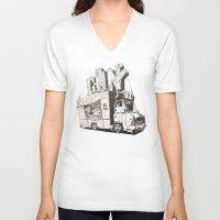 truck V-neck T-shirts featuring Shopping Truck by Mitt Roshin