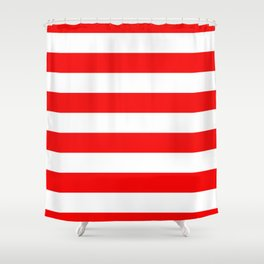 Jumbo Berry Red and White Rustic Horizontal Cabana Stripes Shower Curtain