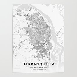 Barranquilla, Colombia - Light Map Poster