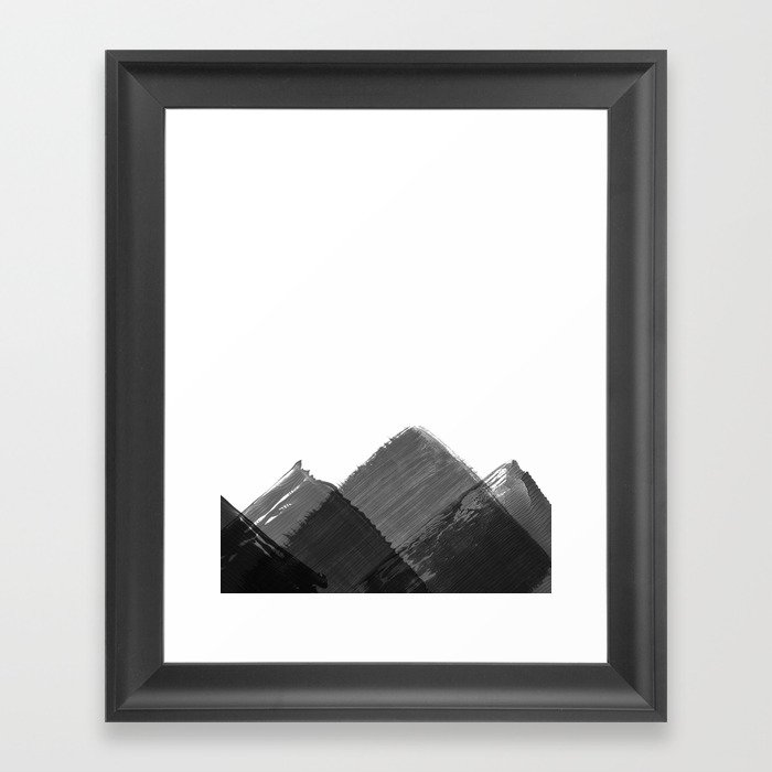 Minimalist Mountain Ink Art Print Gerahmter Kunstdruck
