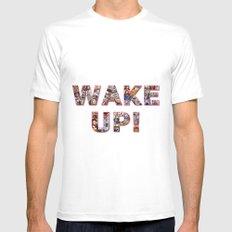 WAKE UP!  Mens Fitted Tee White MEDIUM
