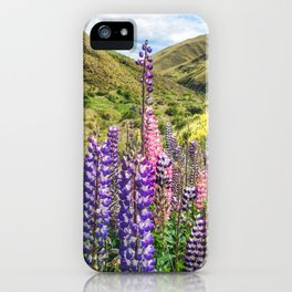 Colorful fields of lupines blooming in December in NZ iPhone Case