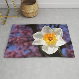 Daffodil with Cherry Blossoms Rug
