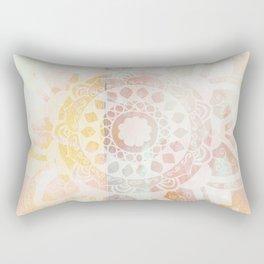 Vine white mandala on pink Rectangular Pillow