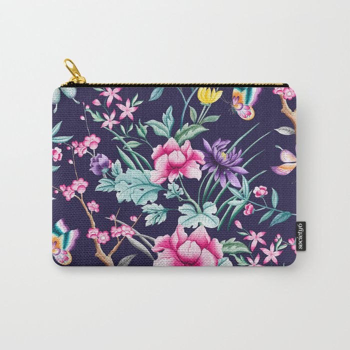 Chinoiserie french navy floral Carry-All Pouch