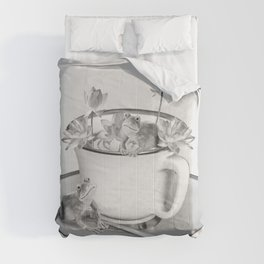 Coffee Cup Two Frogs Lotos Flower Comforters