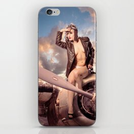 """""""Captain Felix"""" - The Playful Pinup - Bomber Jacket Pin-up Girl by Maxwell H. Johnson iPhone Skin"""