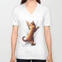 gladiator V-neck T-shirts featuring CAT by karakalemustadi