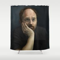 louis Shower Curtains featuring Louis CK by Pavel Sokov