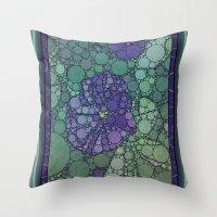 potato Throw Pillows featuring Percolated Purple Potato Flower by Charma Rose