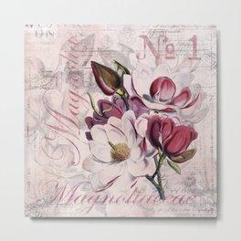 Vintage Magnolia flower illustration Metal Print