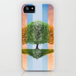 Digital painting of the seasons of the year in a tree iPhone Case