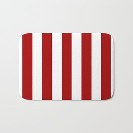 Dark candy apple red - solid color - white vertical lines pattern Bath Mat
