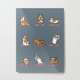 English Bulldog Yoga Metal Print