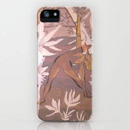 Girls in yoga poses and tropical plants in pastel beige colors. iPhone Case