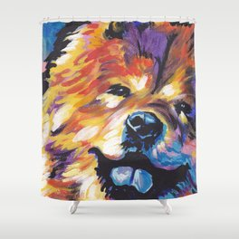 fun CHOW CHOW bright colorful Pop Art painting by Lea Shower Curtain