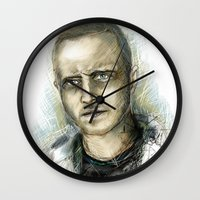 jesse pinkman Wall Clocks featuring Jesse Pinkman - Breaking Bad by Lisa Lemoine