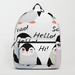 Funny penguins on white background. Hello in English Spanish Italian German French Language. Backpack